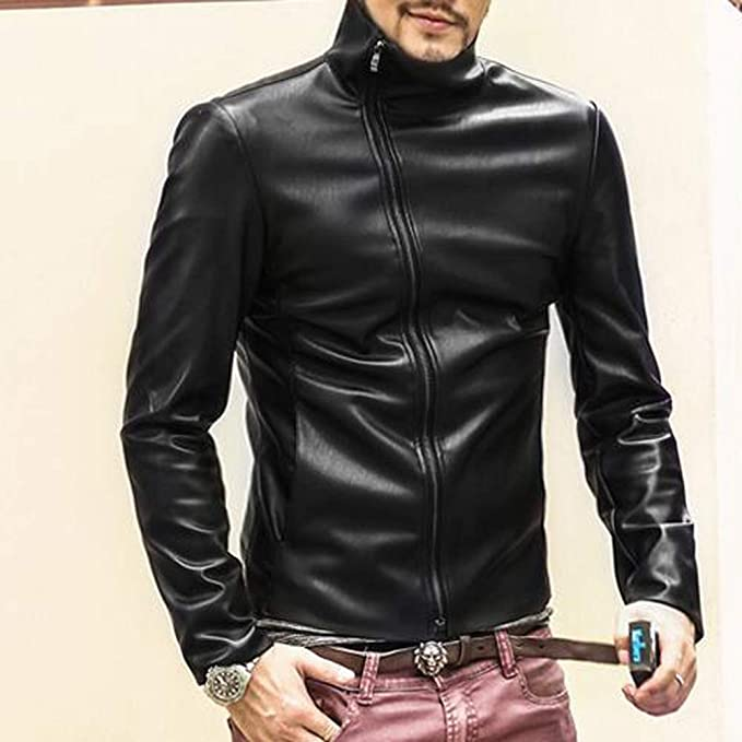 Amazon.com: IEason Men Top Men Leather Autumn&Winter Jacket Biker Motorcycle Zipper Outwear Warm Coat: Clothing