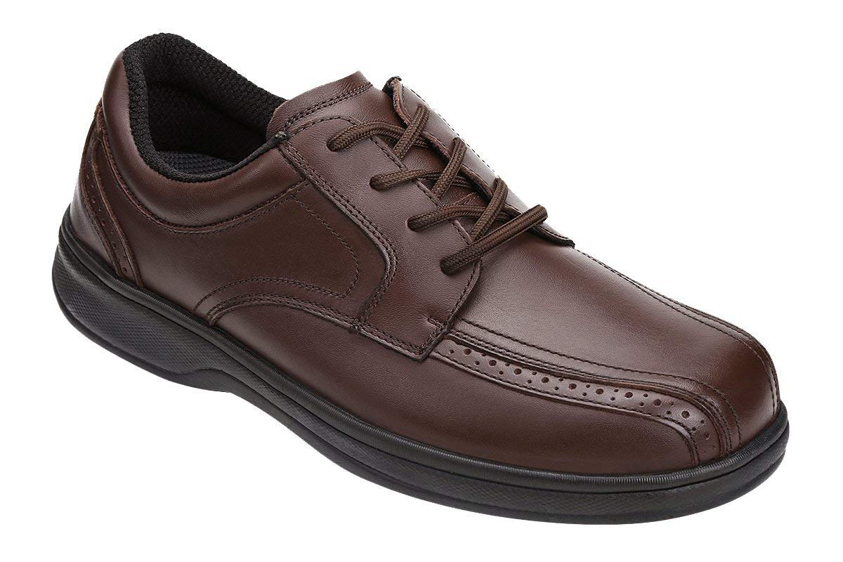 Orthofeet 467 Men's Comfort Diabetic Therapeutic Extra Depth Shoe Brown 9.5 X-Wide (4E) Lace