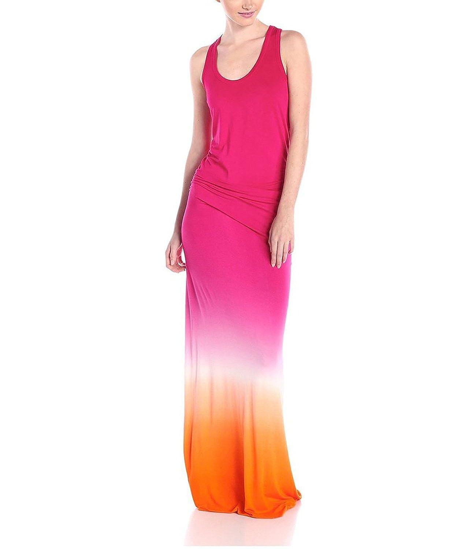 891da09607b2 RC S SECRET 2017 Women s Vestidos Fashion Printed Gradient Tank Long Dress  Size 14 Rose Color  Amazon.co.uk  Clothing