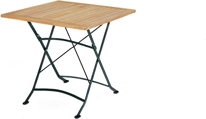 Julia Table pliante en teck Vert naturel 80 x 80 x 75 cm ...