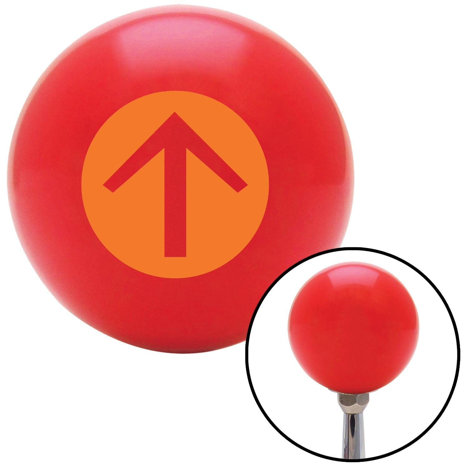 American Shifter 94090 Red Shift Knob with M16 x 1.5 Insert Orange Circle Directional Arrow Up