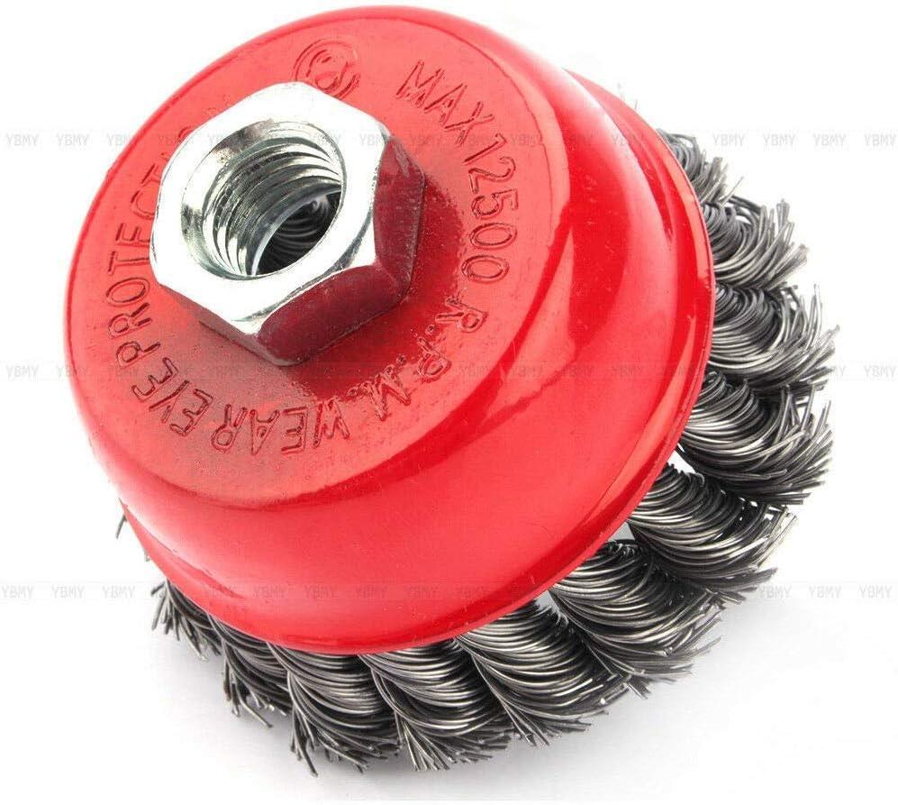 cepillo de olla pulido de cepillo acero inoxidable juego de cepillos de alambre de acero inoxidable M14 para amoladora angular de alambre de 3 pulgadas Cepillos de lija 4 piezas