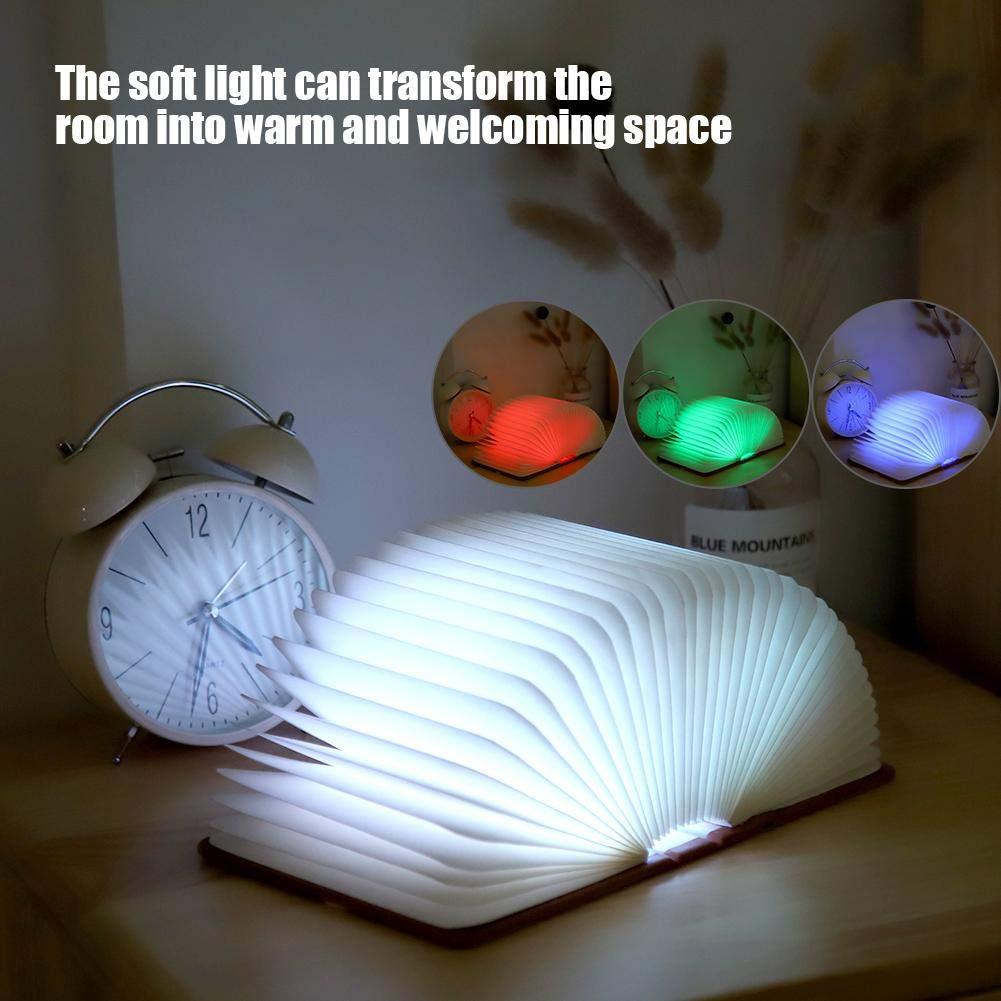 4 Farben LED Faltbare Buch Licht S USB Aufladung Kreatives LED Nachttischlampe f/ür Kinder und Freundin Zoternen Buchlampe