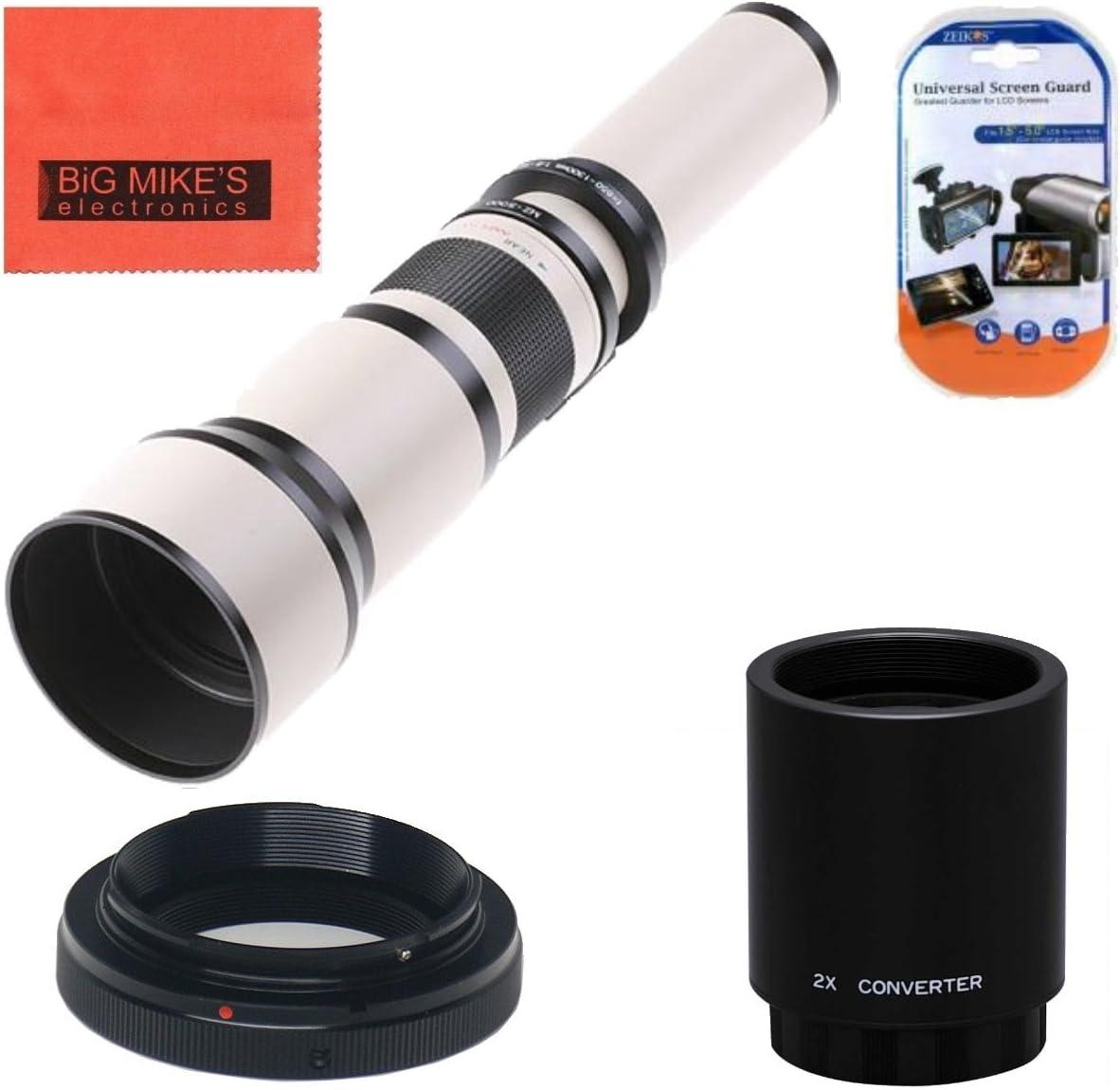 Long-Range 650mm-2600mm f/8 Telephoto Zoom Lens for Nikon DF, D3100, D3200, D3300, D5000, D5100, D5200, D5300, D5500, D7000, D7100, D7200, D300s, D600, D610, D700, D750, D800, D800e, D810, SLR Camera