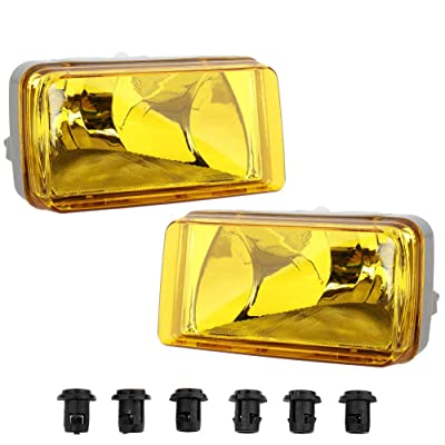 MAYASAF Amber Lens Fog Light Pair of Bumper Fog Lamp for 2007-14 Chevrolet Silverado/Suburban/Avalanche/Tahoe, 2007-14 GMC Sierra/Yukon, 2007-08 Cadillac Escalade: Automotive