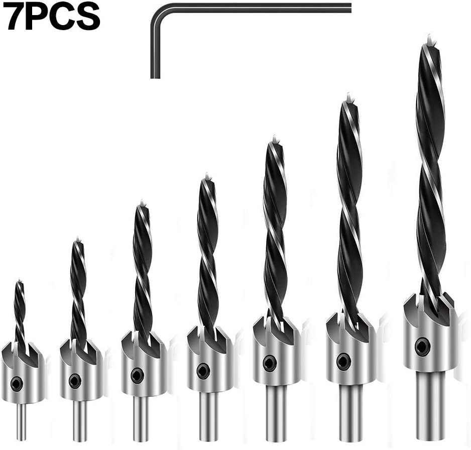 3-10mm Three Pointed Woodworking Chamfer Counter Drill Bit Set with Hex Key High-Speed Steel Drill Adjustable Carpentry Reamer Plated for Wood DIY 7 PCS Countersink Drill Bit