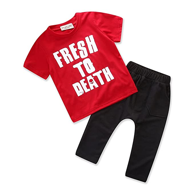 57bfc4037b8e Samgami Baby Summer Toddler Boys Clothes Red Cotton T-Shirt Tops ...