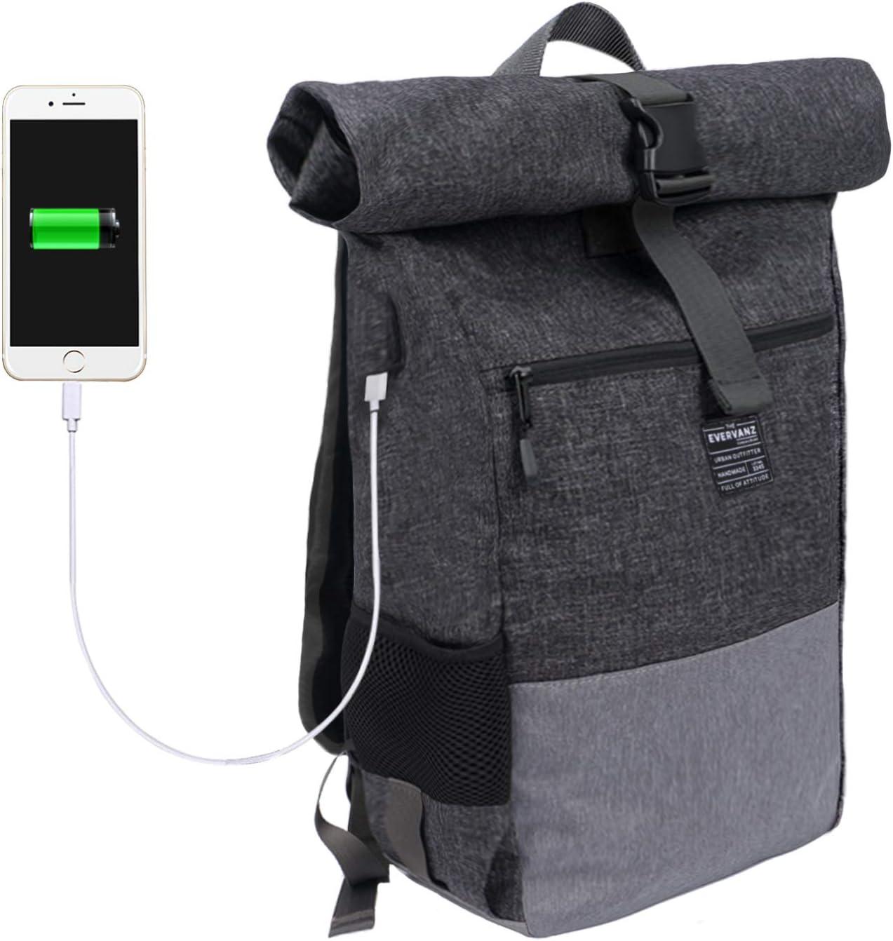 EverVanz Mochila para Laptop, Mujer & Hombre Enrollable Resistente al Agua, Viajes, Mochila para Excursiones, Mochila Casual Ligera, Bolsa con Estilo para la Escuela con Puerto de Carga para USB.