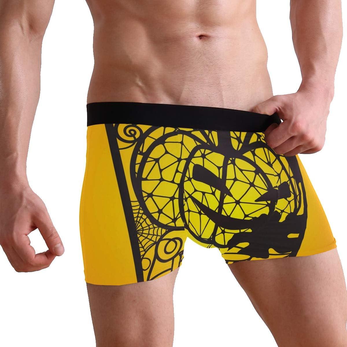 Mens 2-Pack Boxer Briefs Polyester Underwear Trunk Underwear with Spiderwebs with Pumpkin Design