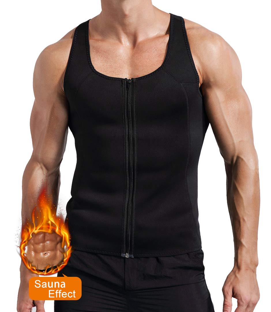 Novasoo Men s Waist Trainer Neoprene Sauna Vest Weight Loss Sweat Zipper Tank Top