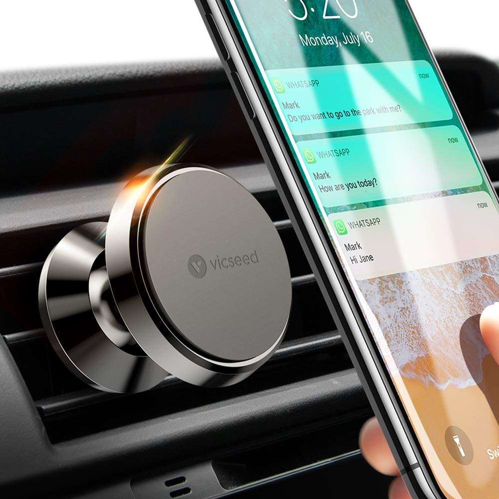 Car Phone Mount, VICSEED Magnetic Phone Car Mount Magnet Air Vent Mount 360° Rotation Car Phone Holder for Car Fit for iPhone Xs Max XR X 8 Plus 7 Plus 6 Samsung Galaxy S10 S10+ S10e S9 S7 S8 LG, GPS