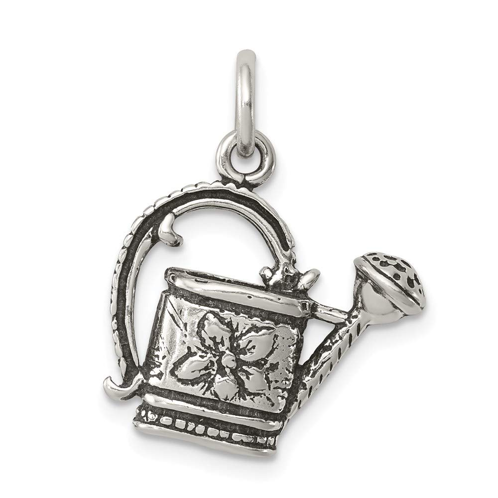 Mireval Sterling Silver Antiqued Watering Pot Charm on an Optional Charm Holder