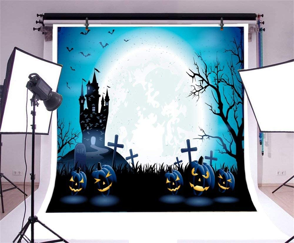 GoHeBe Halloween Theme Backdrop 10x10ft Vinyl Photography Background Gloomy Night Ghost Moon Shadows Haunted Castle Ghastly Geaveyard Tombs Grinning Pumpkin Lamps Trick or Treat Horror Night Backdrop