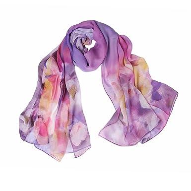 Pur esprit et cœur foulards en soie pour l automne hiver impression longue  femmes châle 48a34e867f3