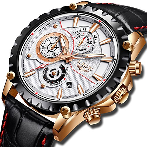Watch for Men,LIGE Waterproof Chronograph Leather Sport Analog Quartz Watches Gents White Dial Calendar Fashion Casual Luxury Dress Wrist Watch Rose Gold White