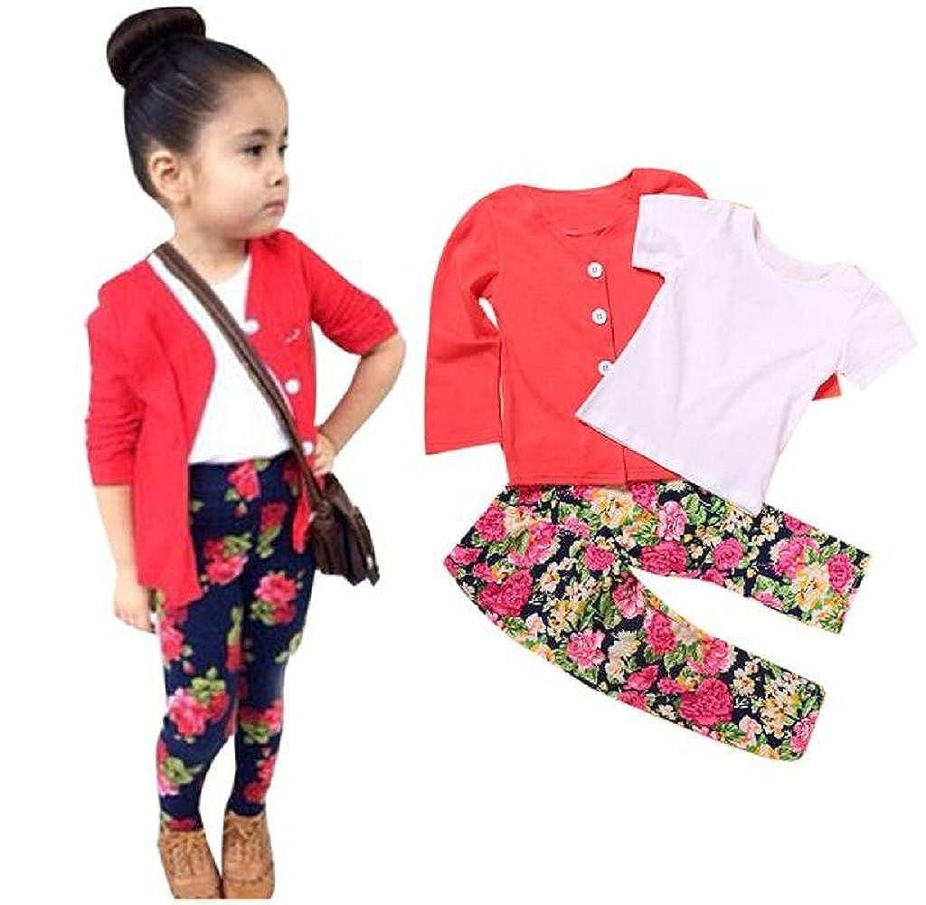 Shensee Kids Toddler Girls Long Sleeve T-Shirt Tops+Coat+Pants Outfits