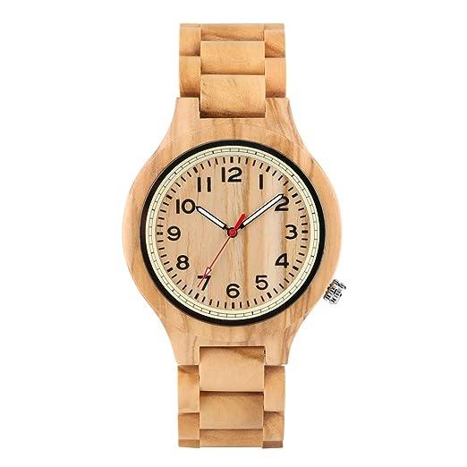 Reloj de Madera de Grano Original para Hombre, colección clásica, Reloj de Madera para Adolescentes, Reloj de Madera de Cuarzo Natural Vintage para niños ...