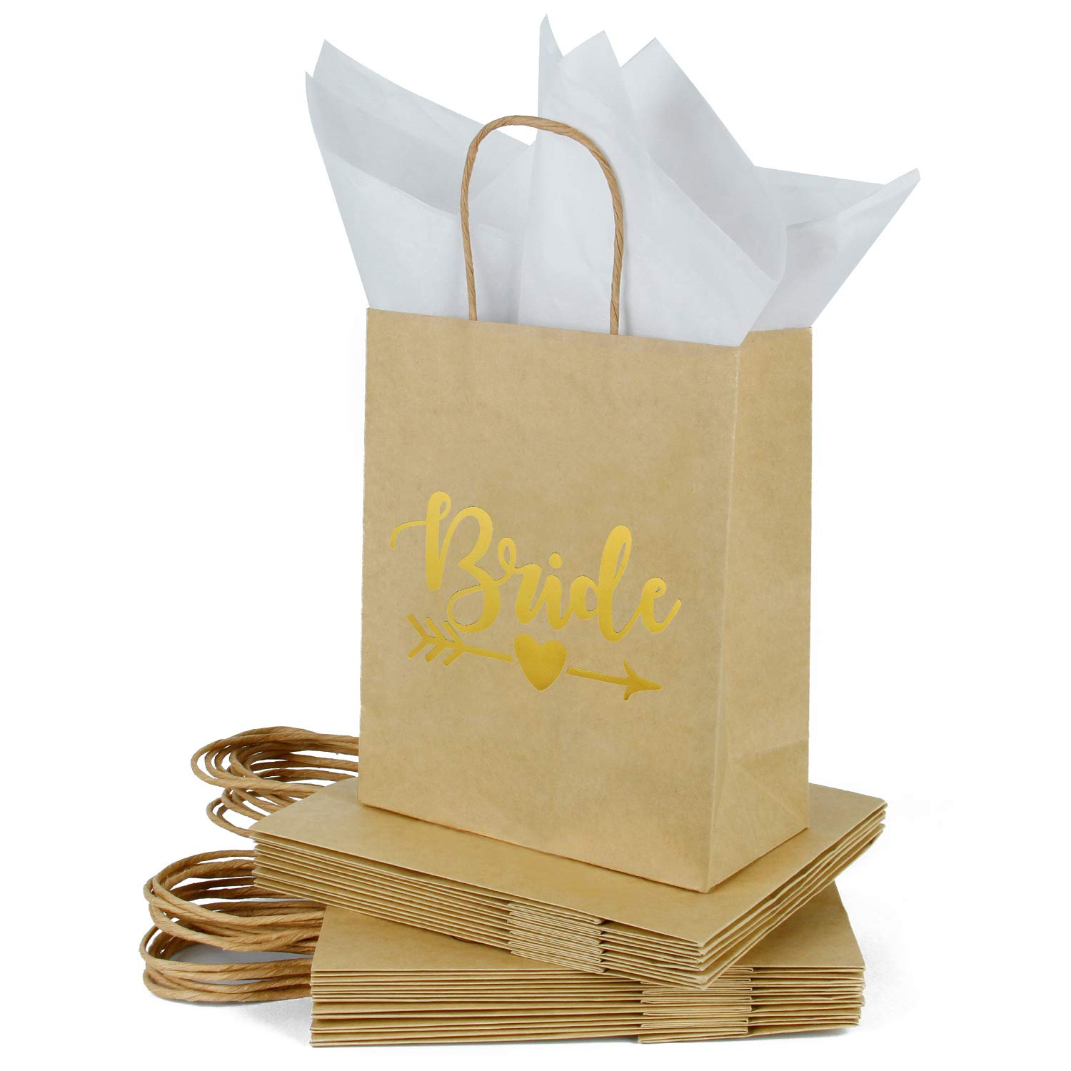Loveinside Medium Kraft Gift Bags -Bride Gold Foil Brown Paper Gift Bag with Tissue Paper - Wedding,Party Favor,Bridal Shower Gifts-12Pack -8'' X 4'' X 10''