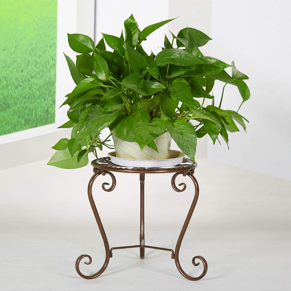 KELE European-style Iron flower pot stands Metal Plant stand Potty, Floor Round Rack Display For home Garden Patio-A