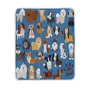 Wamika Home Decor - Manta para Perro y Cachorro con Estampado Suave y cálido Dibujos Animados