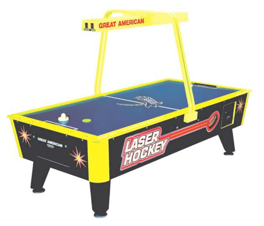 Great American Laser Air Hockey Table with Overhead Electronic Scoring by Great American