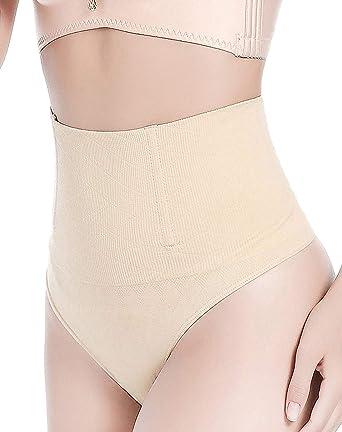 81ab6592f FLORATA Women High Waist Trainer Tummy Control Body Shaper Thong Panties  Shapewear Beige