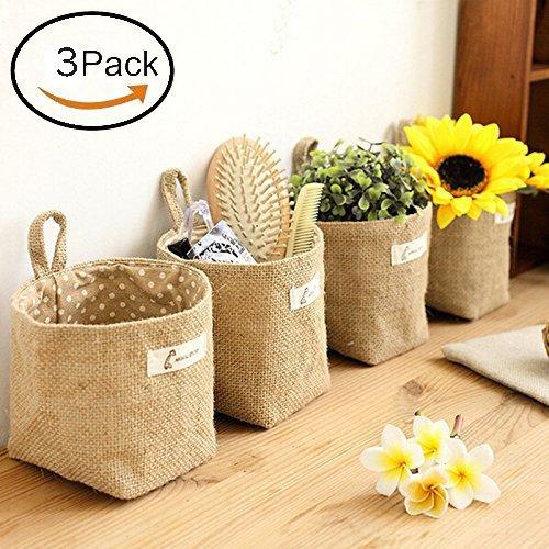 Velidy Hanging Linen Cotton Storage Basket Bag, Mini Collapsible Convenient Storage Bin with Handle, Home Organize Box(3Pack)