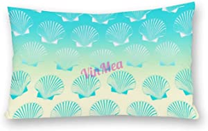 Decorative Lumbar Pillow Covers Cotton Gradient Aqua Blue and Yellow Seashell Pattern Throw Pillow Case Cushion Cover Home Office Decor, 20 X 30 Inches
