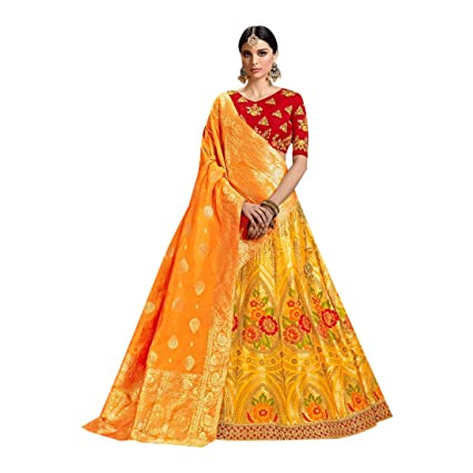 23a5e4b2e46d4 Amazon.com: Yellow Silk kalidar Indian Wedding Zari Handwork Heavy Lehenga  Choli Ghagra Indian Bride's Maid 7198: Home Improvement