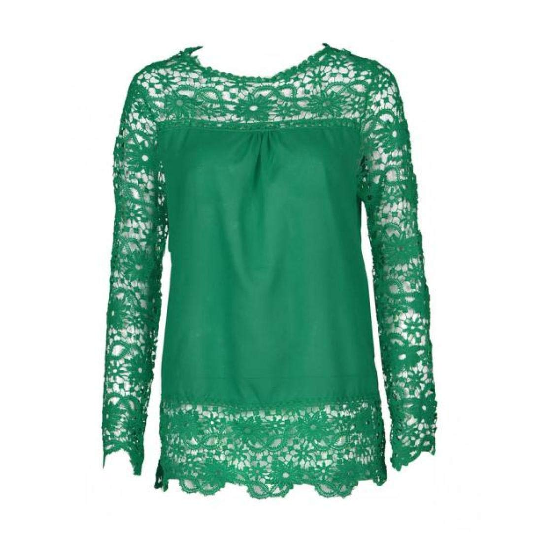Women Plus Size Hollow Out Lace Splice Long Sleeve Shirt Casual Blouse Loose Top(Green,Medium) by iQKA (Image #2)