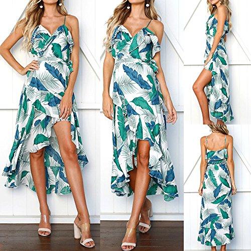 ... WINWINTOM Sommerkleid Damen Große Größen  rockabilly Kleider  Damen  Blätter Druck ärmelloses Minikleid Sommer Strandkleid ... 394903088a