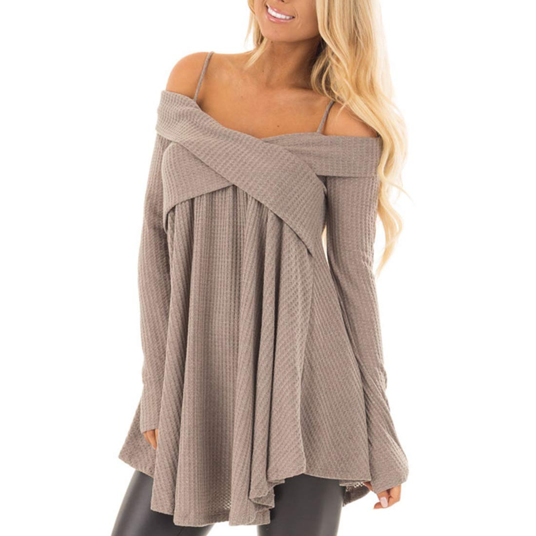 Belgius Women Straps Off Shoulder Sweater Long Sleeve Cross Front Pullover