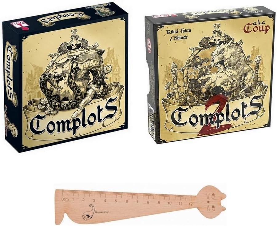 Blumie Shop - Juego de 2 juegos de complots + 1 regla marcapáginas de madera: Amazon.es: Juguetes y juegos