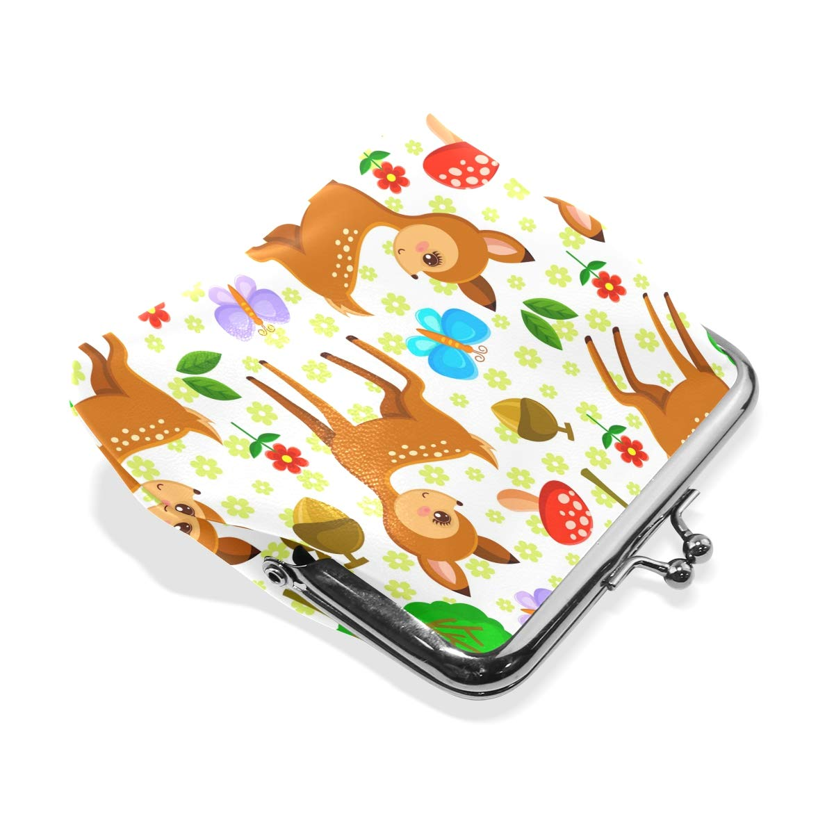 Fashion Womens Coin Purse Forest Deer Insect Mushroom Vintage Pouch Mini Purse Wallets