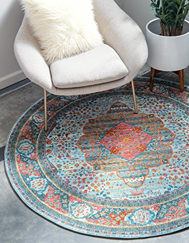 Unique Loom Baracoa Collection Bright Tones Vintage Traditional Light Blue Round Rug (5' 5 x 5' 5)