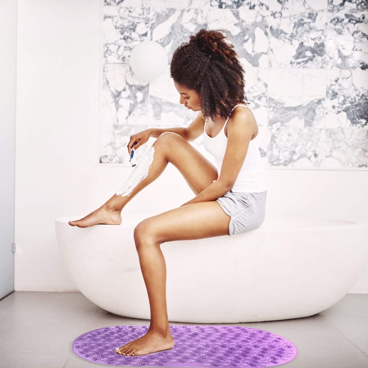 RenFox Badewannenmatte rutschfeste Badewanneneinlage Badematte Duschmatte mit Saugn/äpfen Badewanne Dusche Kinder Lang Shower Mat 72 x 36 cm Lila