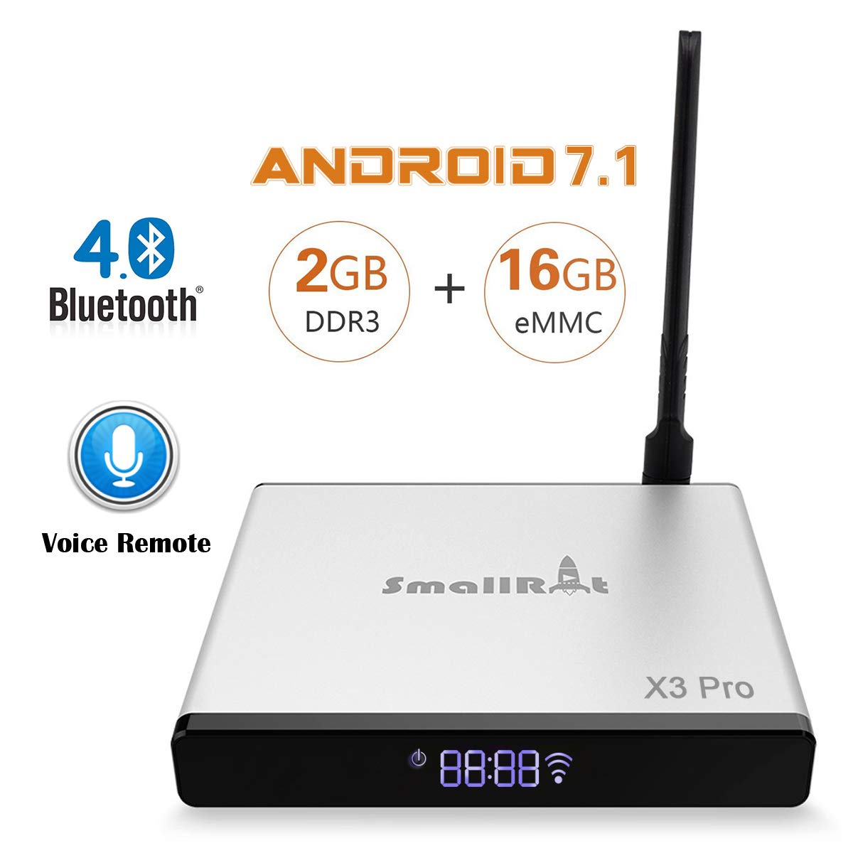 Google Android 7.1 OS TV Box SmallRocket X3 PRO 4K 3D Media Player 2G RAM 16G ROM Smart Mini Box with Builtin 2.4Ghz WiFi Bluetooth4.0 and Voice Remote
