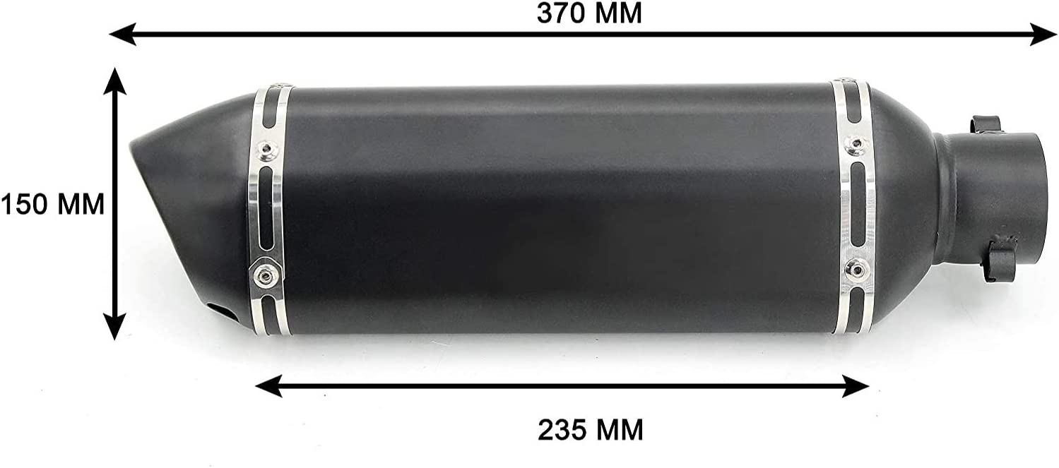 Black Small Hexagonv Pnndee Universal 38-51mm Motorcycles ATV Exhaust Muffler Pipe,Oblique Tail Refit