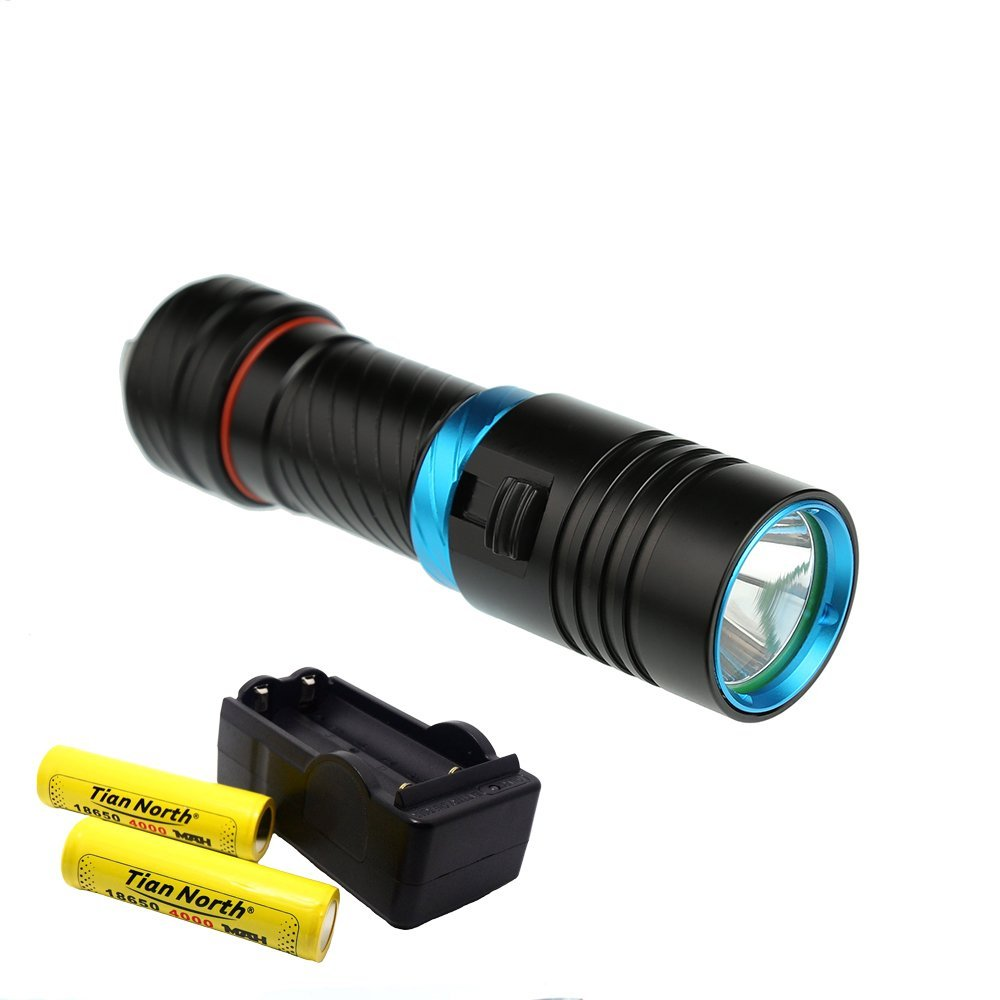 Diving Flashlight TIanNorth® New Model Super Bright Waterproof L2 LED Diving Torch Flashlight 100M 1200LM Black + 18650 4000MAH+Charger