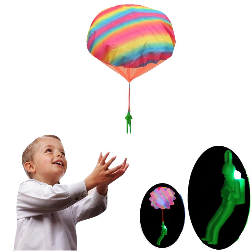 DellyKa Light Up Toy Parachute Man Tangle Free Throwing Toy Children's Flying Toys Outdoor Play Game Toy (2pcs)