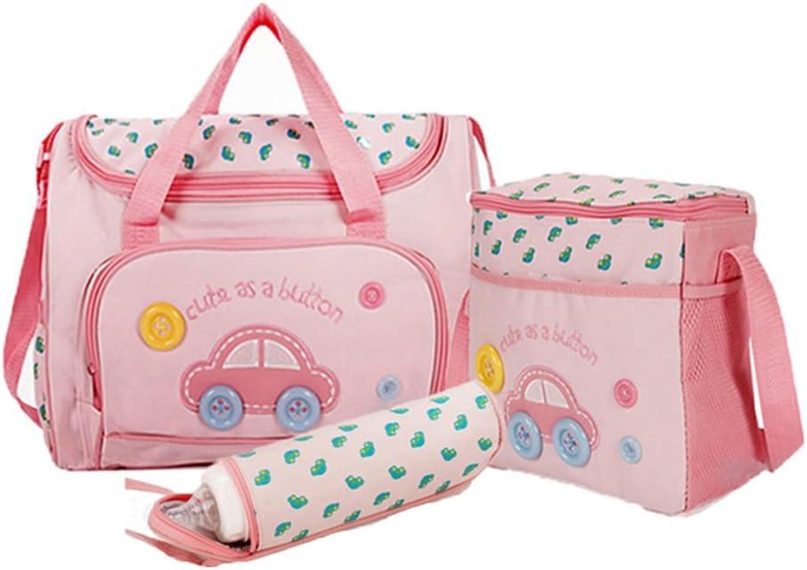 AllRight 4Pcs Baby Nappy Diaper Changing Bag Set Mummy Changing Tote Handbag Pink