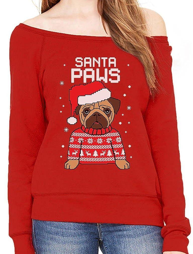 TeeStars - Santa Paws Pug Ugly Christmas Sweater Dog Off shoulder sweatshirt GtPtP3hg8u