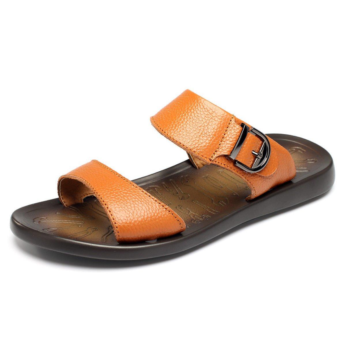 LYZGF Los Hombres De Ocio De Verano Sandalias Respirables De Moda Zapatillas De Playa De Cuero 40 EU LightBrown1