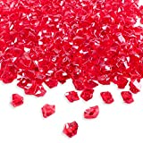 Super Z Outlet Acrylic Color Ice Rock Crystals Treasure Gems for Table Scatters, Vase Fillers, Event, Wedding, Birthday Decoration Favor, Arts & Crafts (385 Pieces) (Red)
