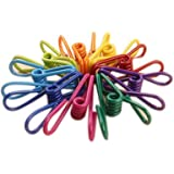 "Yansanido Pack of 30 Assorted Colors PVC-Coated 2"" Steel Wire Clips Holders Multi-purpose Clothesline Utility Clips, Steel Wire Clips (30pcs)"