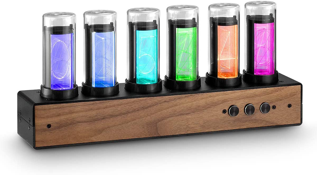 Douk Audio Retro Nixie Clock Inspired Modern Digital Gixie Clock 6-Digit LED Shelf Clock Black