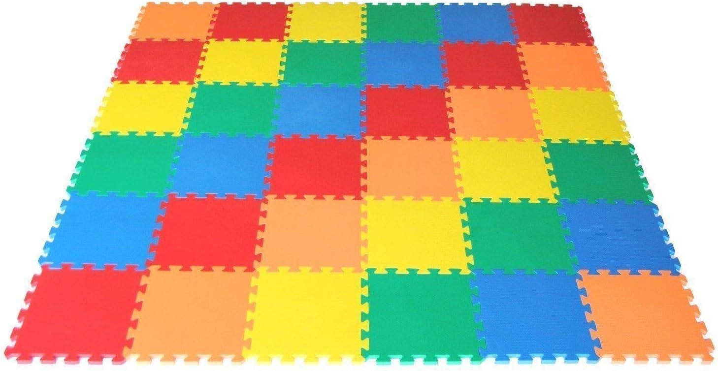 VLFit Puzzle para Niños | Puzzle de Suelo de Goma en Espuma EVA - 10 o 20 Piezas Alfombra de Juego para bebé Esterilla de Rompecabezas Approx 0,95m² o 1,9m²- Multicolored (10 Piezas)