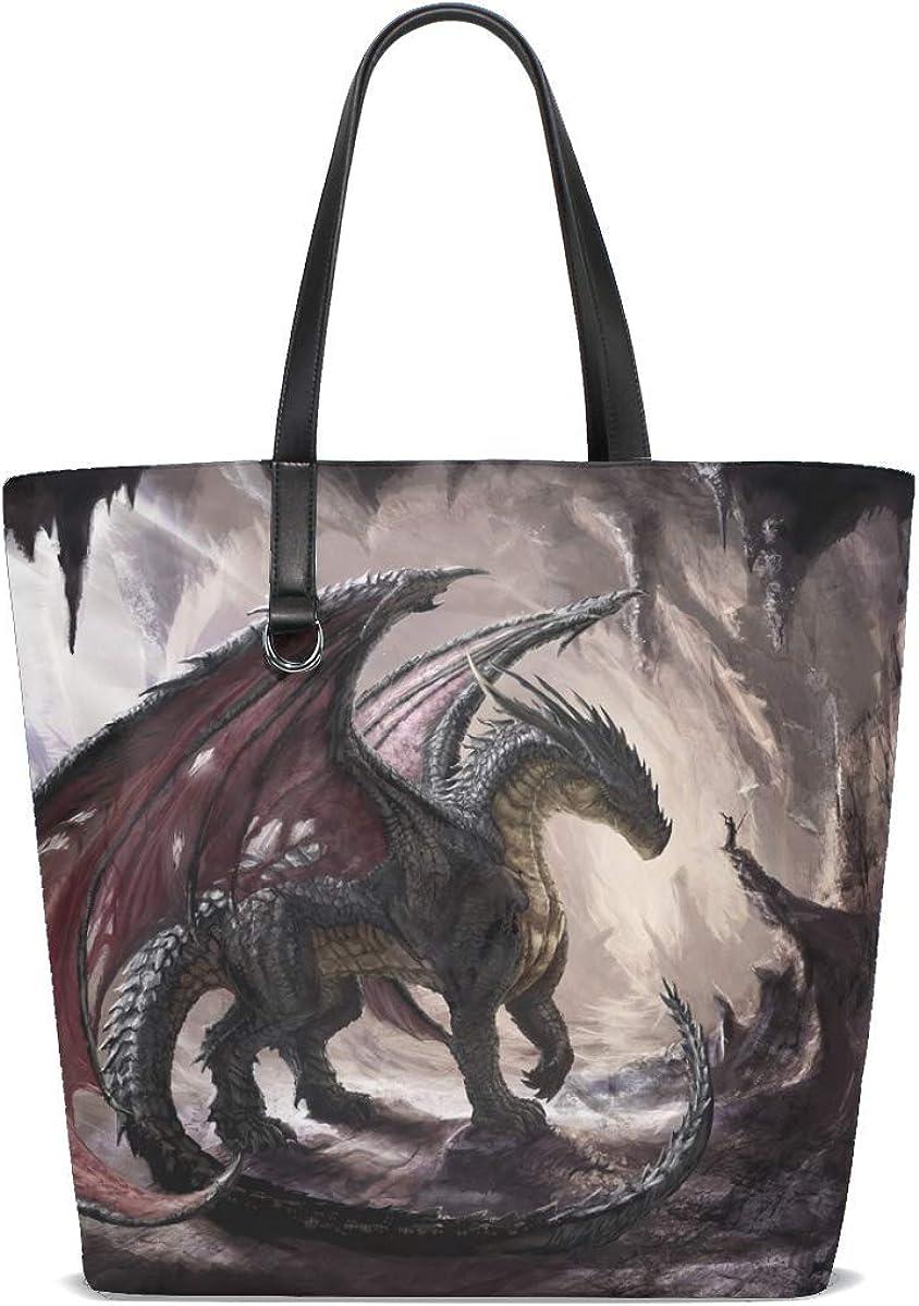 Dragon Cave Light Art Tote Bag Purse Handbag For Women Girls