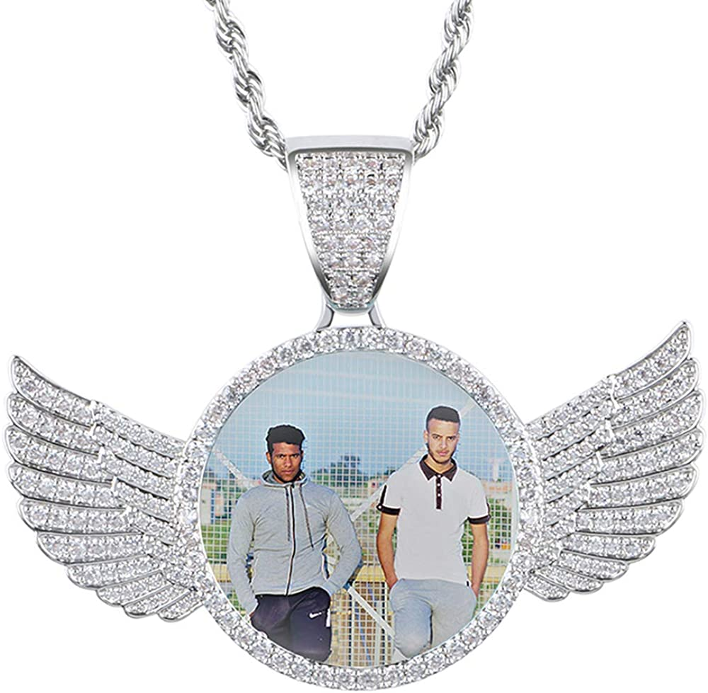 Angel Wing Custom Photo Pendant Necklace,Iced Out Personalized Memorial Pendant Necklace,Birthday Gift for her,gift for him,Hip Hop Jewelry