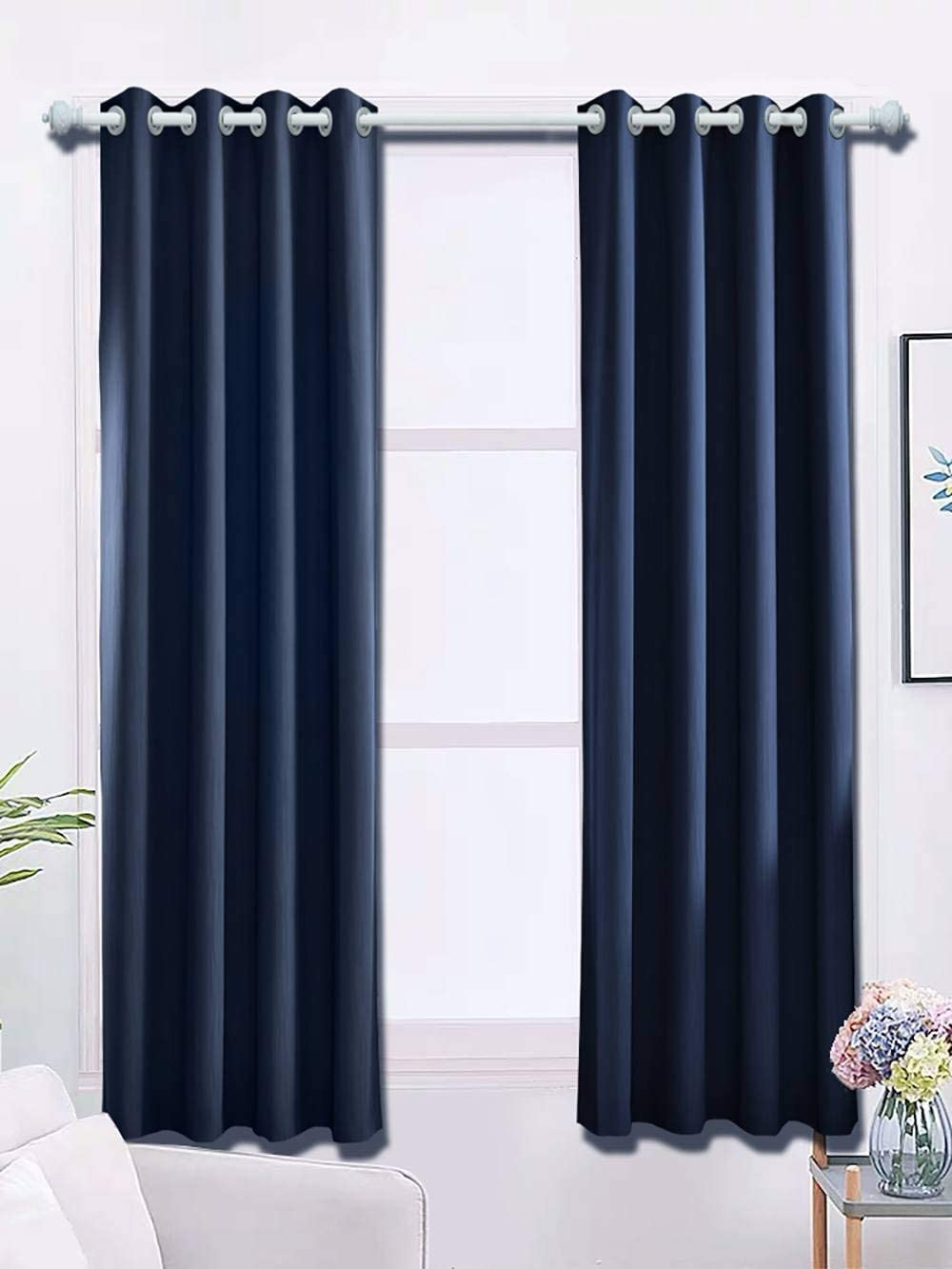 Orval Navy Blackout, Soundproof, Thermal Insulated, Polyester, All Season, Window Curtains with Grommets Tiebacks for Home Kitchen Drawing Room Set of 2 Panels, Each 42 X 96 Inch